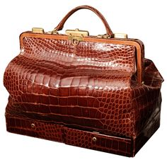 Beautiful Crocodile Doctor's Bag with 2 jewelry drawers below. Made in Italy    #1stdibs #fathersday