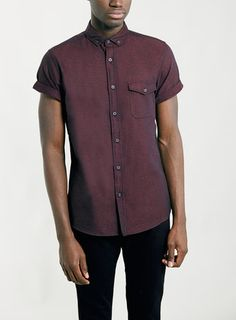 Burgundy Twist Short Sleeve Flannel Shirt