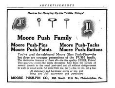 We carry Moore pushpins. They come in wood color and metal stainless steel.