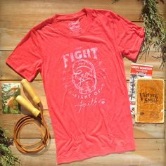 Fight the good fight of faith. Design is hand illustrated. Vintage Inspired Christian Clothing.  ++Shop MercyRoadApparel.com ++