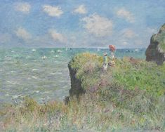 The Cliff Walk, Pourville - Claude Monet hand-painted oil painting reproduction,summer wind upon figures seascape,living room large wall art Claude Monet, O Keeffe Paintings, Umbrella Painting, Classic Wallpaper, Background Drawing, Oil Painting Reproductions, Painting Process, Art Institute Of Chicago, Large Wall Art