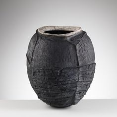 Ceramics by Patricia Shone at Studiopottery.co.uk - Erosion jar 4 'Transhumance tracks', ht 25cm, raku fired. 2016. Image by Shannon Tofts