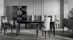 Iron based modern dining table. This is our Valentina contemporary dining table from one of our many modern dining room sets.