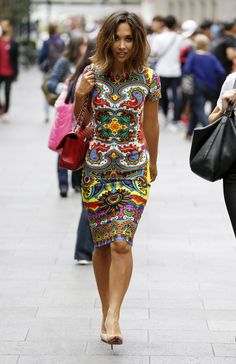 Pin for Later: Myleene Klass Isn't Letting the Colder Weather Affect Her Street Style A midi length printed scuba dress (£49) didn't need much accessorising to stand out.