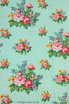 Vintage Home Shop - French 1940s Romanex Fabric; Pink Roses and Polka Dots on Green: www.vintage-home.co.uk