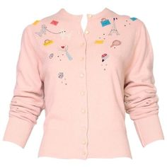 Preowned Vintage Elsa Schiaparelli Pale Pink Cashmere Novelty Cardigan ($550) ❤ liked on Polyvore featuring tops, cardigans, pink, button top, pink top, pale pink cardigan, vintage cardigans and vintage tops