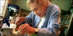 Julia Child preparing lobster rolls for lunch at her home in Cambridge, Mass.,in July of 2001. | The New York Times | Dining & Wine