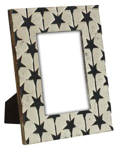Bulk Wholesale Hand-Carved 5x7 Mango-Wood Picture Holder / Photo Frame Decorated with White Color and Black Hand-Painted Stars – Antique-Look Home Décor from India