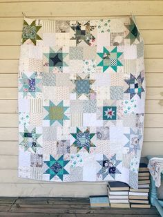 Little Miss Sawtooth Quilt Pattern - Paper Pattern Star Quilt Blocks, Star Quilts, Scrappy Quilts, Amish Quilts, Patchwork Quilting, Quilt Baby, Holiday Quilt Patterns, Star Quilt Patterns, Low Volume Quilt
