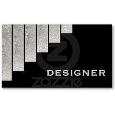 Silver grey, black vertical stripes designer business cards.
