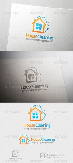 House Cleaning  Logo Design Template Vector #logotype Download it here:  http://graphicriver.net/item/house-cleaning-logo/6374319?s_rank=192?ref=nexion