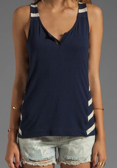 LA MADE Stripe Racerback Tank with Side Panels in Galaxy/Oatmeal at Revolve Clothing - Free Shipping!