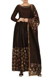 Chocolate Brown Floor Length Anarkali with Dupatta Patiala Dress, Indian Salwar Kameez, Salwar Kameez Online, Anarkali Dress, Anarkali Suits, Floor Length Anarkali, Exclusive Clothing, Indian Dresses, Designer Collection