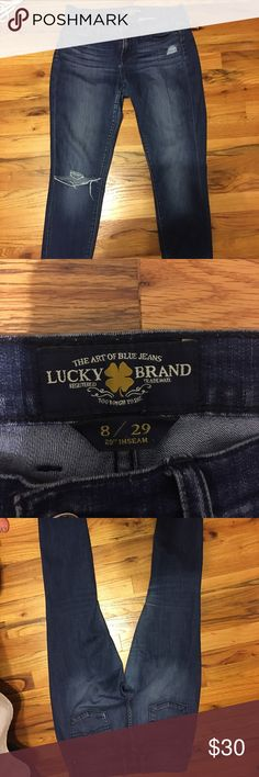 Lucky Brand Jeans Lucky Brand Jeans- medium wash- size 29- Charlie super skinny- rip in knees (bought that way from retailer) Lucky Brand Pants Skinny