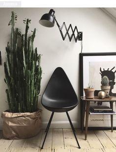 Minimalistisch urban jungle interieur met cactus in zak. // via Ultralinx