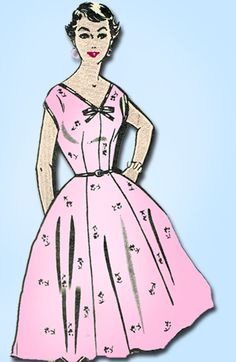 1950s Vintage Mail Order Sewing Pattern 8209 Misses Rockabilly Dress Size 12 32B #MailOrder #1950sDressPattern