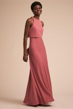 Love this bridesmaid style! | Iva Crepe Maxi Pink Ribbon | Long Bridesmaid Dress | Chic Bridesmaids | Bridal Party Style | High Neck Bridesmaids Dresses | Wedding Party Fashion