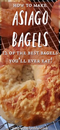 If you love asiago cheese bagels, this is your lucky day. This asiago bagel recipe benefits from a long, overnight rise and bakes up chewy and perfect! Artisan Bread Recipes, Yeast Bread Recipes, Baking Recipes, Flatbread Recipes, Cheese Bagels, Asiago Cheese, Brunch Recipes, Breakfast Recipes
