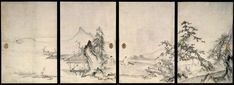 The Four Gentlemanly Accomplishments by Oguri Sokei (act. late 15th–early 16th c.) Muromachi period (1392–1573) Eight sliding-door panels (in two sets of four), ink and light colors on paper 171.0 x 117.5 cm (each, first set); 169.5 x 91.2 cm (each, second set)