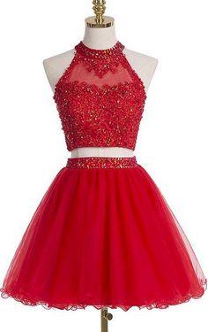 Cute Homecoming Dress,Two-Pieces Homecoming Dress,Beading Graduation Dress, Appliques Short Prom Dress Hd065