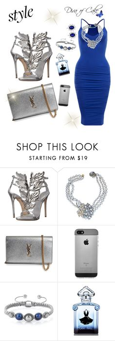 """blue and Silver"" by kercey ❤ liked on Polyvore featuring Giuseppe Zanotti, Miriam Haskell, Yves Saint Laurent and Guerlain"