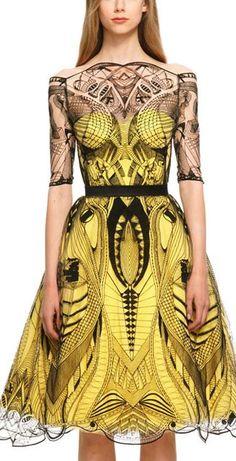 Just a pretty dress: Alexander McQueen yellow and black dress