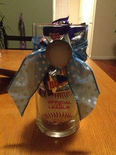 Centerpiece for sport themed baby shower. Baseball/Baby Ruth decoration.