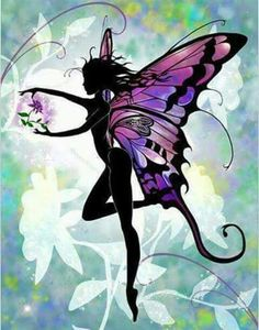 Flower Fairy by Liza Lambertini Fantasy Kunst, Fantasy Art, Elfen Fantasy, Fairy Silhouette, Fairy Tattoo Designs, Elves And Fairies, Dark Fairies, Butterfly Fairy, Butterfly Drawing