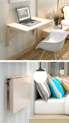 Cheap Space-Saving Furniture - new style - Home Decor Folding Furniture, Space Saving Furniture, Furniture For Small Spaces, Home Furniture, Cheap Furniture, Furniture Ideas, Wooden Furniture, Space Saving Desk, Antique Furniture
