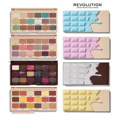 MAKEUP REVOLUTION MUR launched brand new iheartrevolution products These 4 new Chocolate Palettes palettes and 3 x Diamond highlighter are available at their site S. Makeup Revolution Palette, Revolution Eyeshadow, Revolution Highlighter, Makeup Geek, Cute Makeup, Makeup Tools, Makeup Ideas, Make Up Palette, Eye Candy