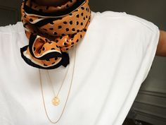 maybe silk scarves are not so old-school: white tshirt, scarf, dainty jewelry