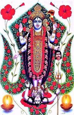 The festival of Navratri is the 9 nights celebrating the goddesses Kali, Lakshmi, and Saraswati. Navratri 2016 begins October 1 for most parts of the world. Mother Kali, Divine Mother, Indian Goddess, Goddess Lakshmi, Goddess Art, Hindu Art, Kali Hindu, Krishna Hindu, Lord Krishna