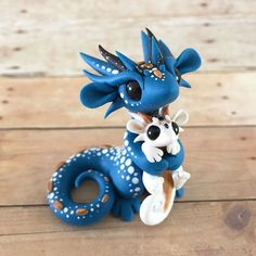Blue Mother and Baby Dragon Sculpture