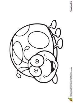 Une coccinelle rondouillarde mais souriante, dessin à colorier
