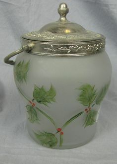 Victorian Frosted Glass Biscuit Jar with Handpainted Holly decor