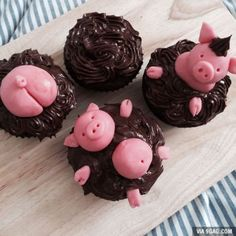 Stole your idea and made piggy-cupcakes - Cake Decorating Cupcake Ideen Cupcakes Design, Cupcake Cake Designs, Cupcake Frosting, Fondant Cupcakes, Easy Cheesecake Recipes, Cupcake Recipes, Drink Recipes, Piggy Cupcakes, Piggy Cake
