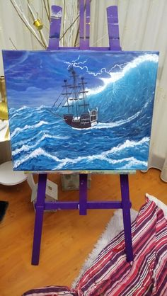 Acrylic painting, ocean painting,   pirate on canvas