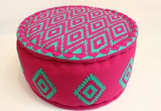 Round Cotton Pouff by BhoomShantiMiami on Etsy