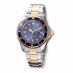 Charles Hubert Paris: Mens Blue Dial Two-Tone Stainless Steel Wrist Watch 3662