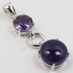 925 Solid Sterling Silver Natural AMETHYST Gemstones Pendant Best Christmas Gift #SunriseJewellers #Pendant