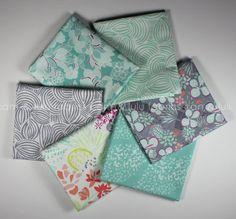 CANYON - by Kate Spain for Moda Fabrics - Fat Quarter Bundle - 6 Prints - Teal - Grey