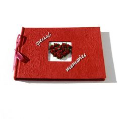 Red Guest Book or Memory Book Heart of Roses by dottiedesignsxx, £19.95