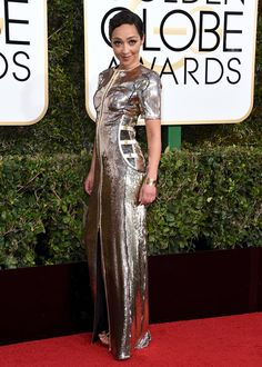 "Ruth Negga, nominee for Best Performance by an Actress in a Motion Picture (Drama) for her role in ""Loving,"" wearing Louis Vuitton.  Golden Globe Awards 1-8-2017"