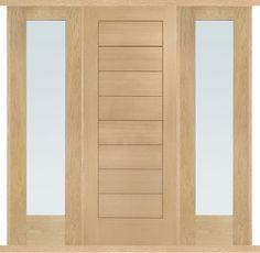 Modena Oak Double Side Panel Door Set - popular oak door set with two side panels, includes solid Modena door and two glazed sidelights, unfinished Oak Doors, Entrance Doors, Panel Doors, Garage Doors, Oak Front Door, Side Door, Timber Panelling, Blue Hill, External Doors
