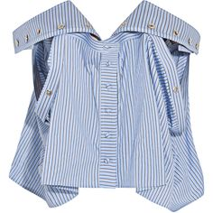 Y/PROJECT Off-the-shoulder striped cotton-poplin bustier top (€2.460) ❤ liked on Polyvore featuring tops, crop top, shirts, light blue, light blue shirt, striped crop top, blue striped top and blue crop top
