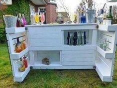 Pallet Furniture - Garden Bar / Palettes Cocktail Bar- Palettenmöbel – Garten Bar /Paletten Cocktail Bar Lounge Furniture – Pallet Furniture – Garden Bar / Pallet Cocktail Bar – a unique product by Palettery on DaWanda - Lounge Furniture, Pallet Furniture, Furniture Ideas, Outdoor Furniture, Furniture Inspiration, Rustic Furniture, Inexpensive Patio Furniture, Palette Garden Furniture, Modern Furniture