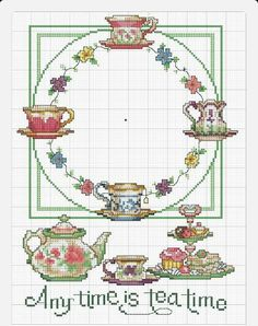 Cross-stitch Any Time is Tea Time Clock-face. no color chart available, just use pattern chart as your color guide. Point de croix -m cross stitch Cross Stitch Kitchen, Cross Stitch Love, Counted Cross Stitch Patterns, Cross Stitch Charts, Cross Stitch Designs, Cross Stitch Embroidery, Ribbon Embroidery, Embroidery Patterns, Cross Stitching