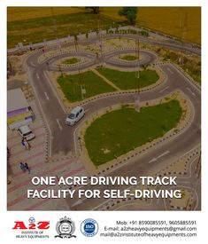 Enroll Now! One acre driving track facility for self driving. Institute of Heavy Equipments & Driving School 9605885591 Learning To Drive, Training School, Self Driving, Heavy Equipment, Acre, Track, Design, Runway