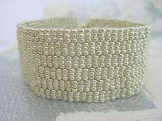 Peyote Bracelet in Galvanized Silver Beaded by MadeByKatarina,