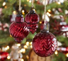 Mercury Glass Ornaments - Red, Set of 3 #potterybarn